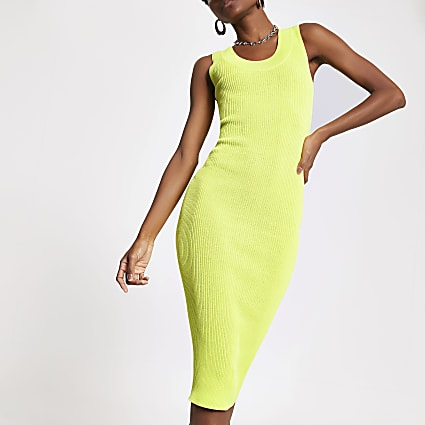 Neon yellow knitted midi dress