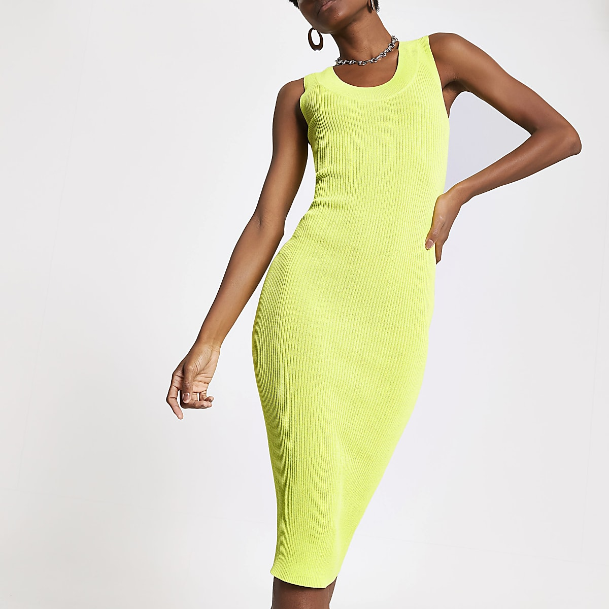 Neon yellow knitted midi dress