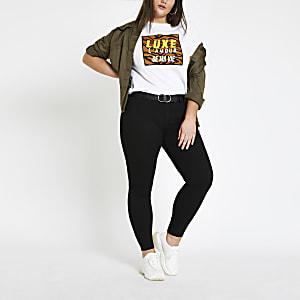 Plus – T-shirt à imprimé léopard encadré blanc