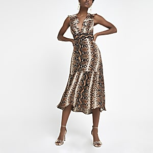 Brown snake print plunge midi dress