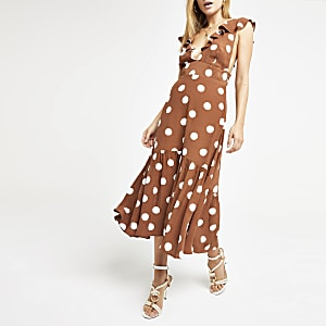 Brown spot plunge neck midi dress