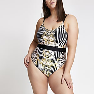 Plus black baroque print belted swimsuit