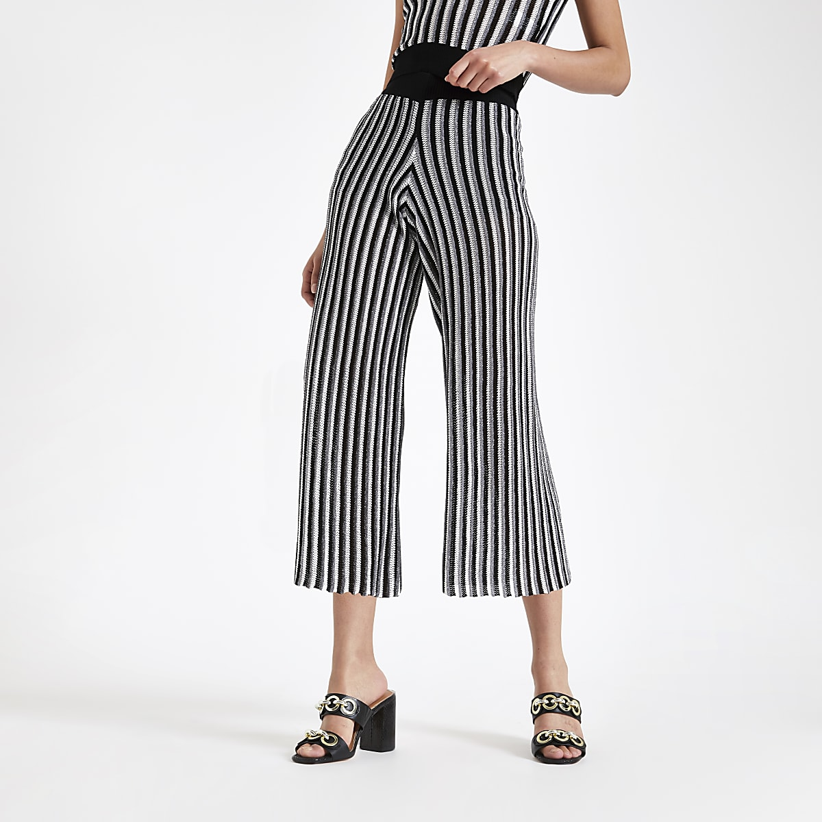 Black stripe knitted pants