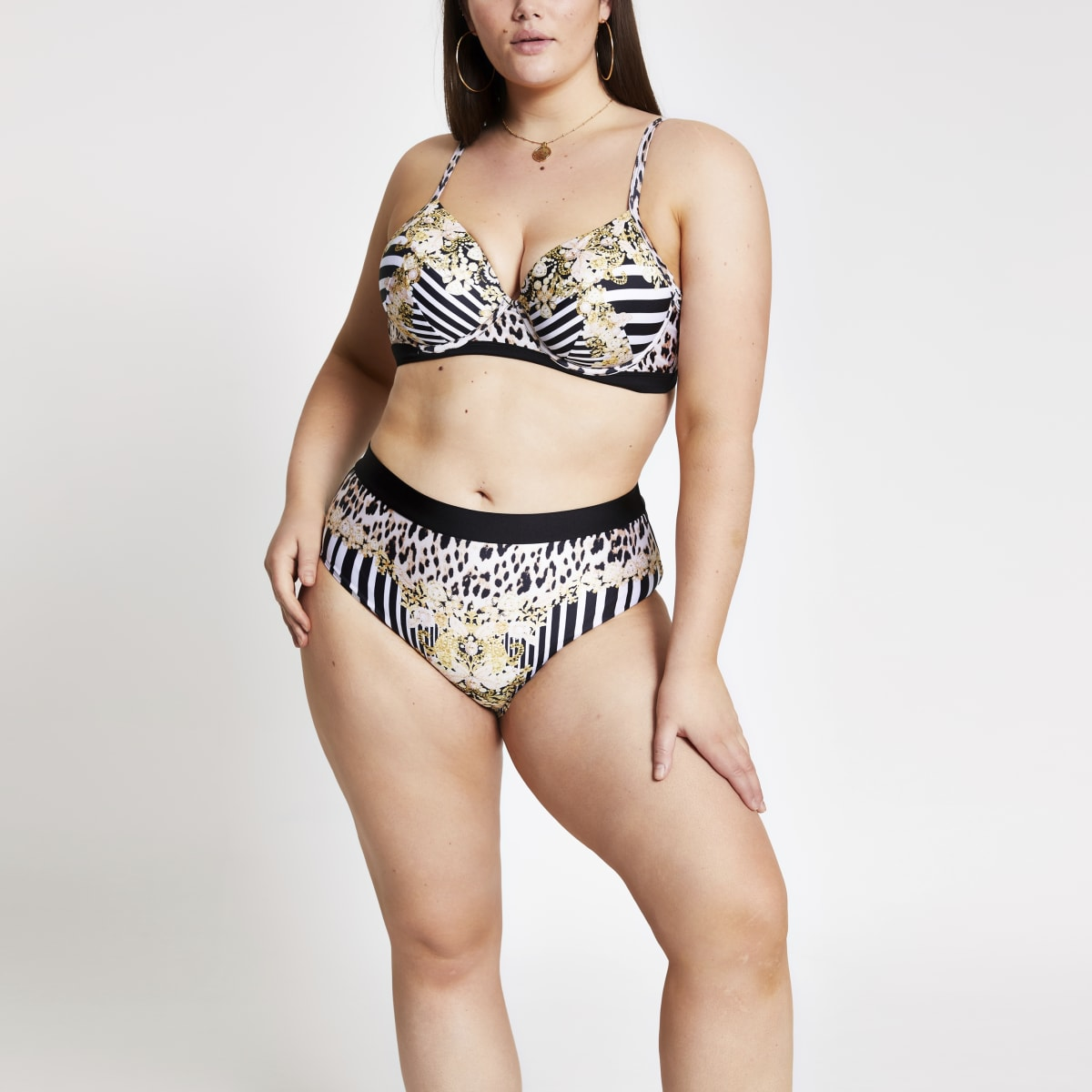 Plus black mixed print bikini bottoms