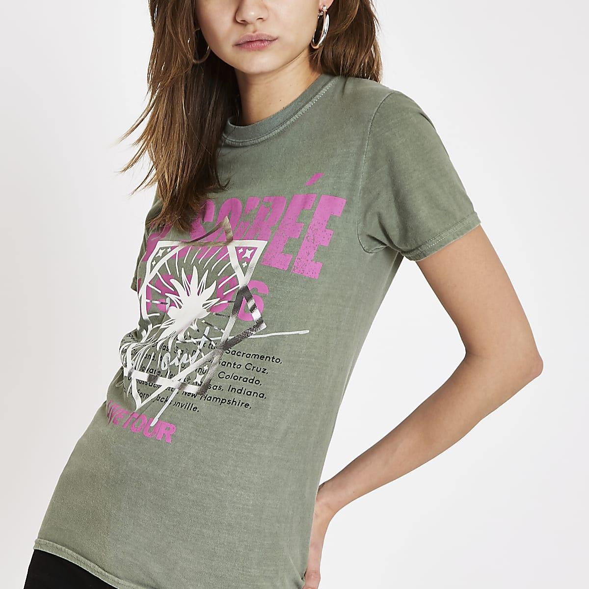 Khaki 'La soiree' print T-shirt