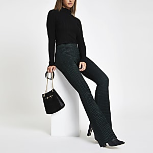 Green geo jersey flare trousers