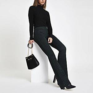 Pantalon évasé en jersey à imprimé géométrique vert