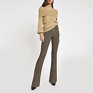 Beige stripe flare pants