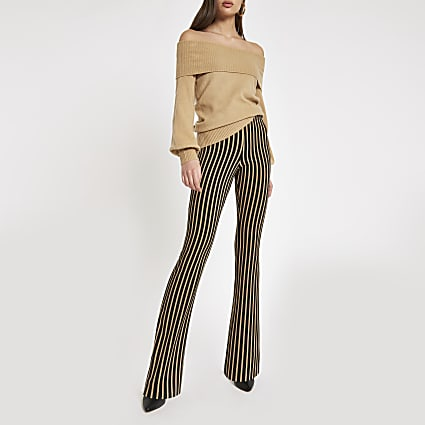 Beige stripe flare trousers