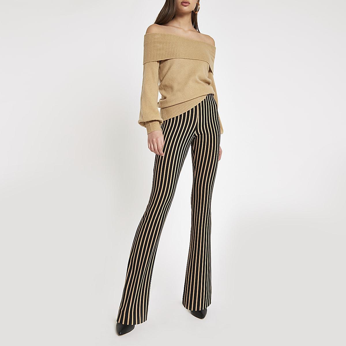Pantalon évasé rayé beige