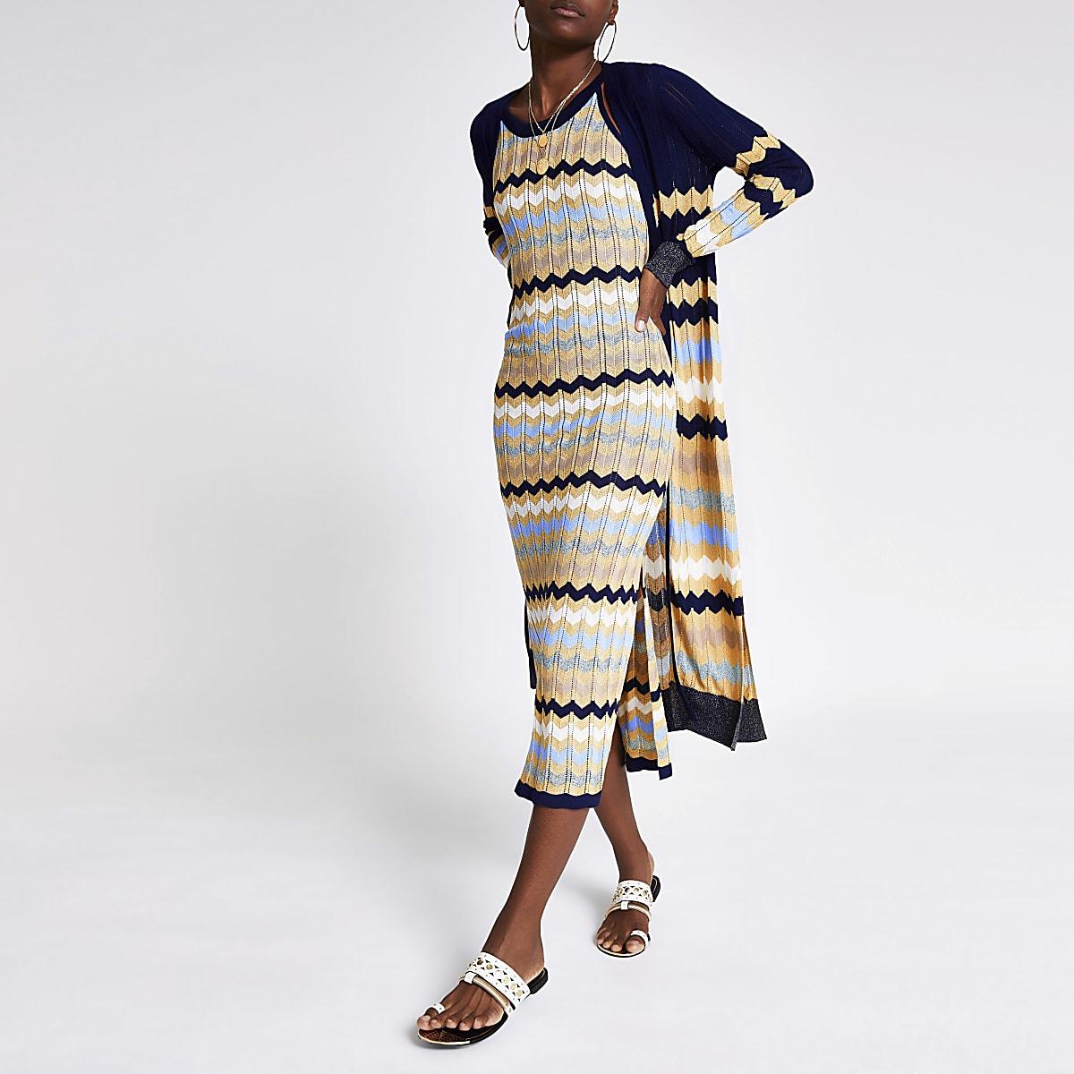 Navy chevron stripe knitted dress