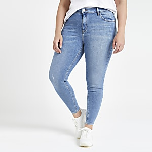 Plus mid blue Amelie super skinny jeans