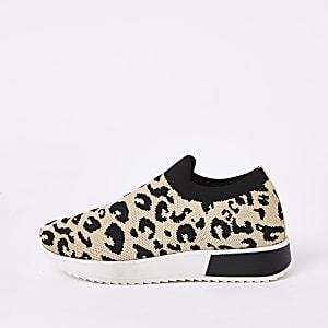Bruine gebreide sneakers met luipaardprint