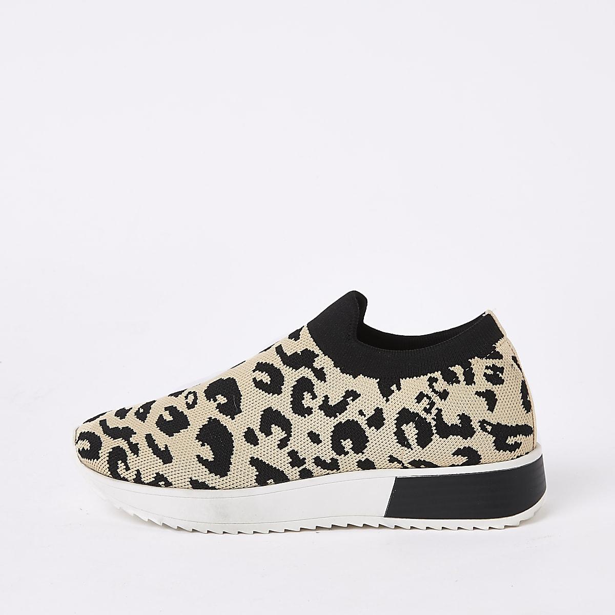 Baskets de course en maille à imprimé léopard marron