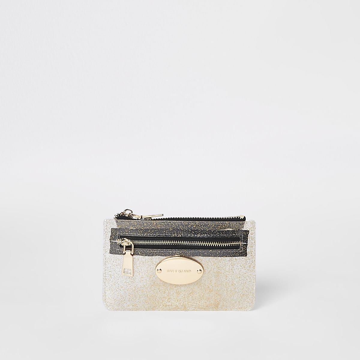 Gold perspex mini zip around pouch