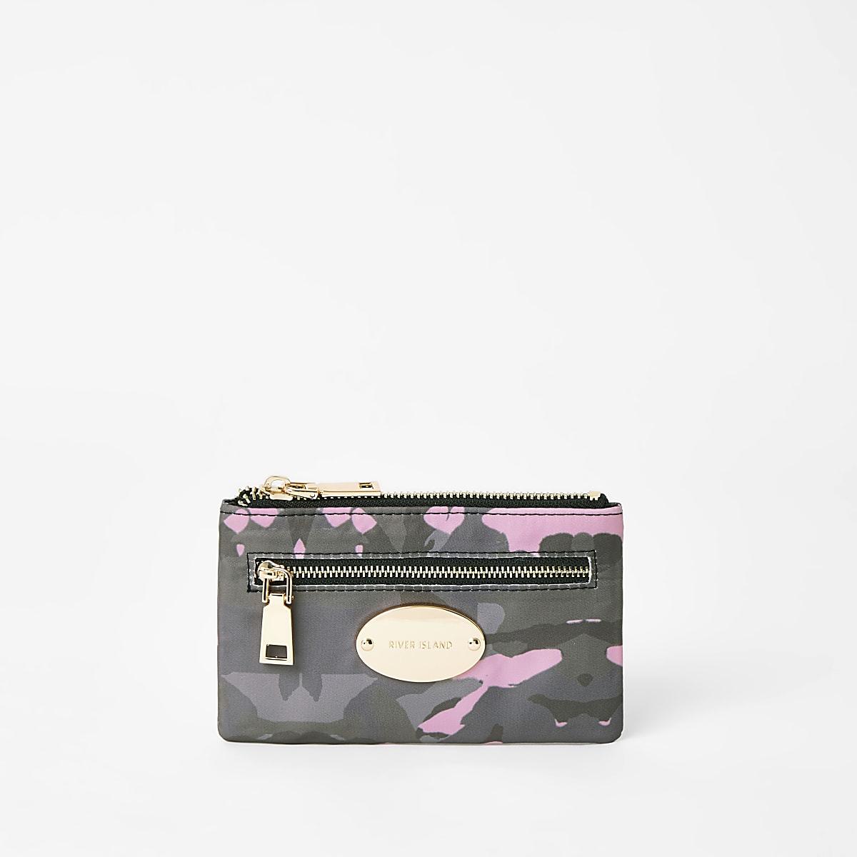 Khaki camo mini oval RI branding purse