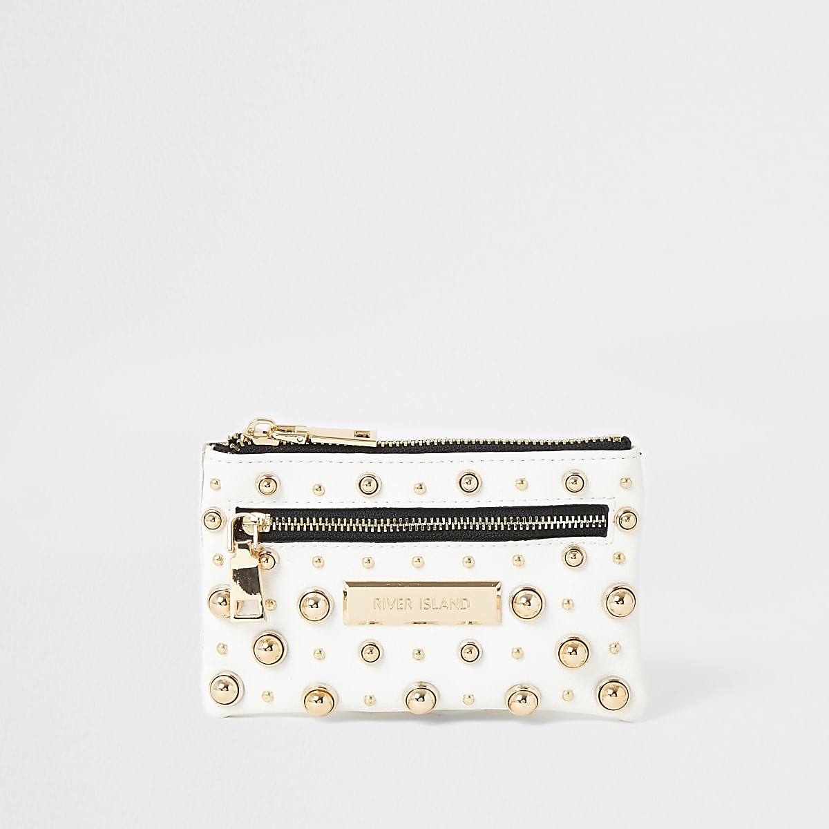 White studded pouch purse