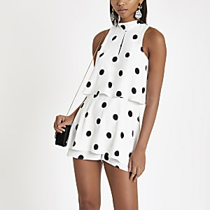 White spot high neck playsuit