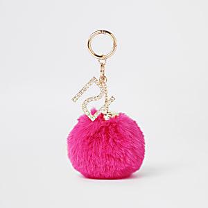 Porte-clés à pompon en fausse fourrure rose