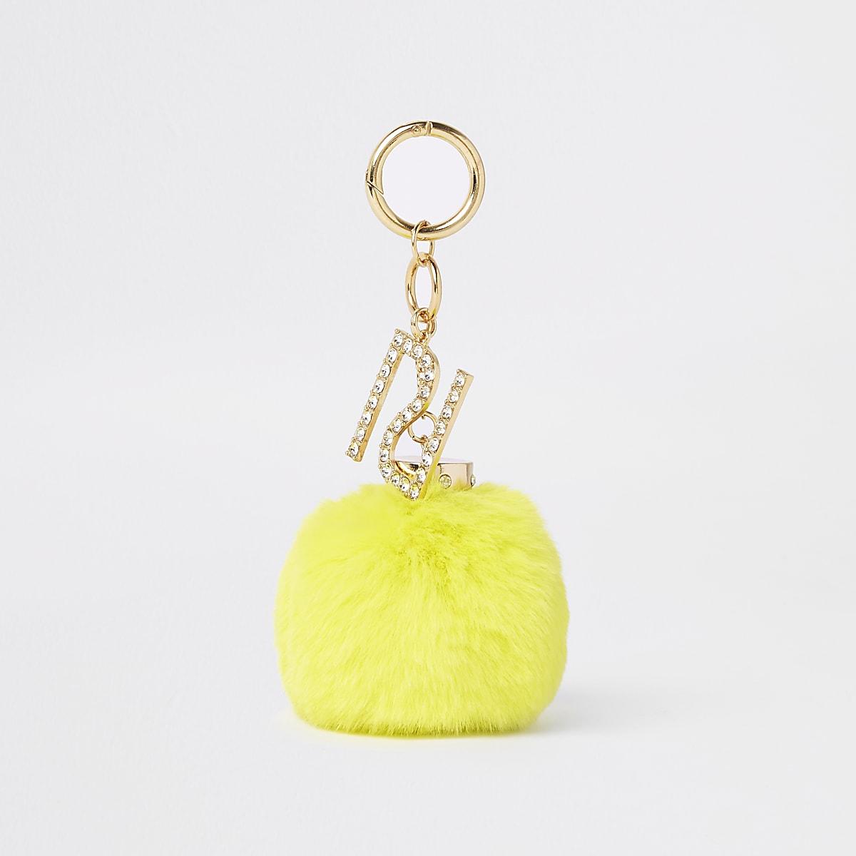 Yellow faux fur pom pom keyring