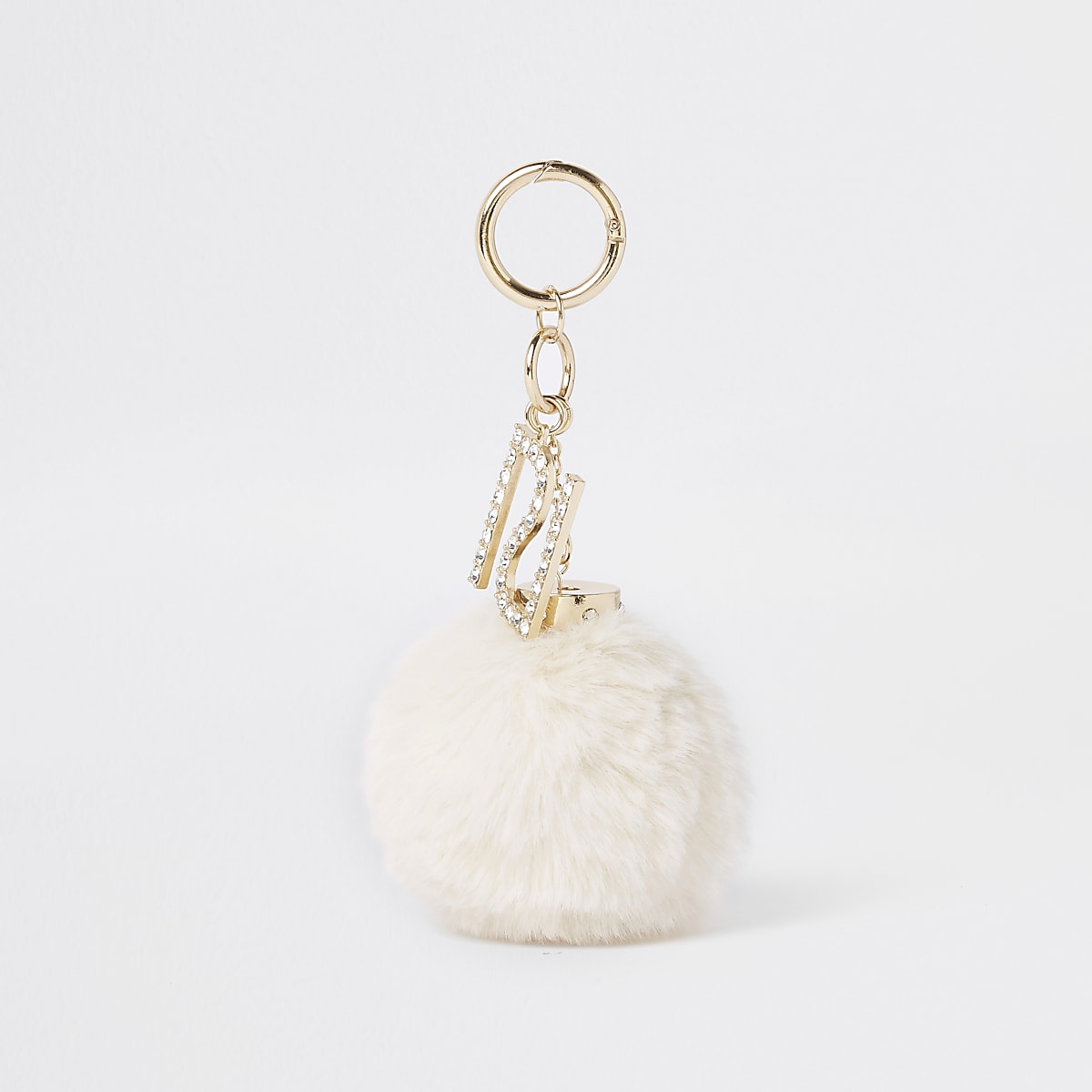 Cream faux fur pom pom keyring