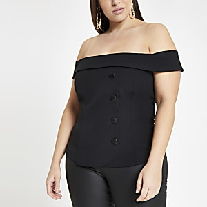 Plus black button front bardot top