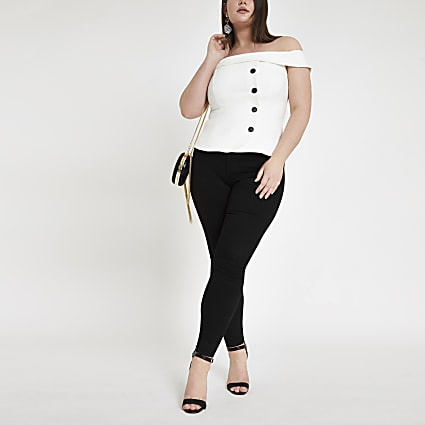 Plus white button front bardot top