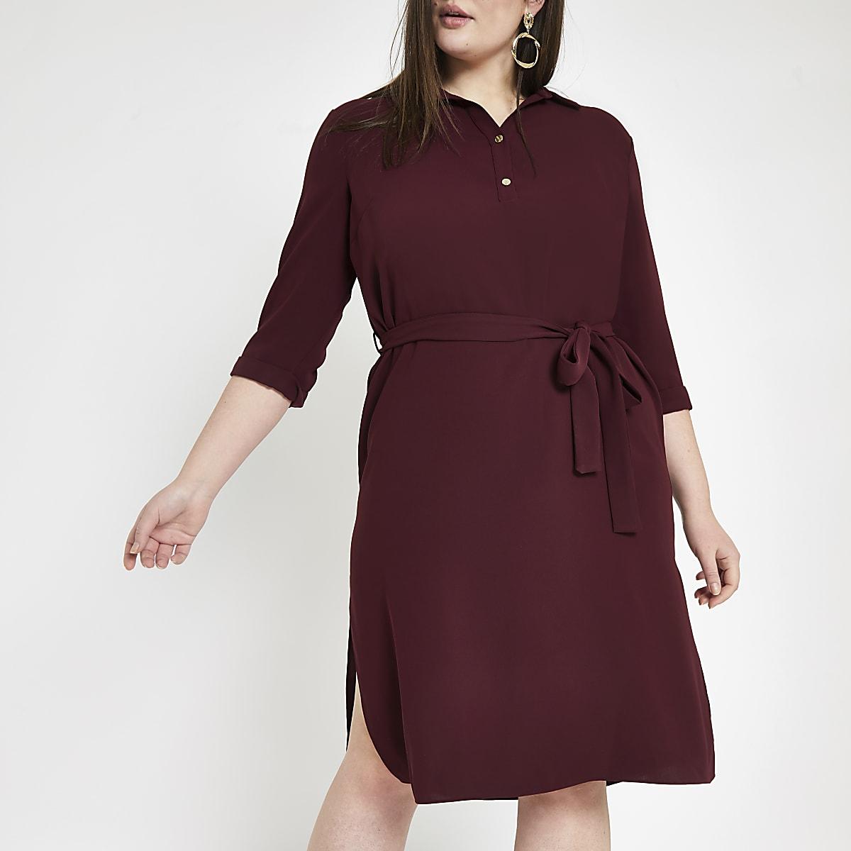 Plus dark red belted dress