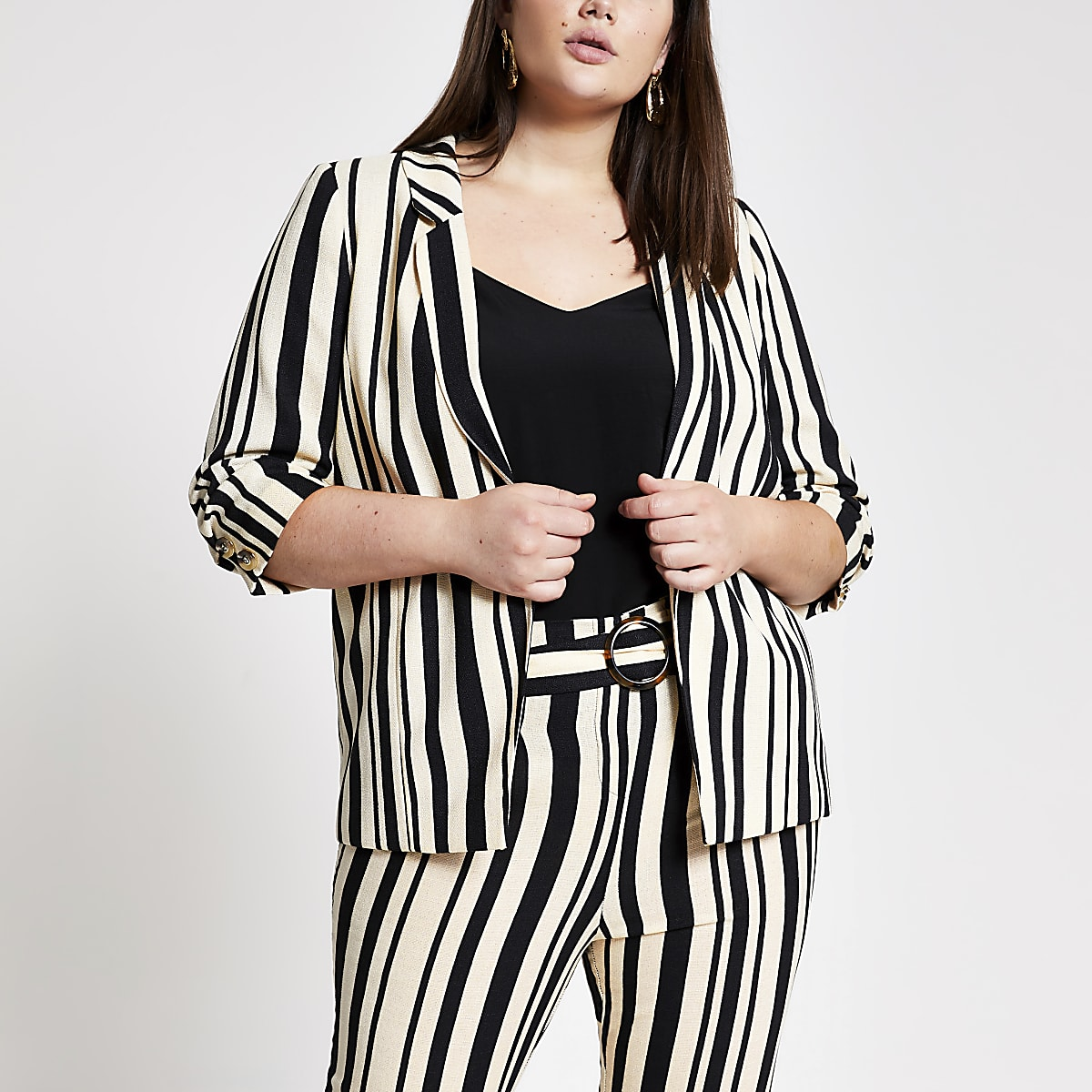 Plus black stripe blazer