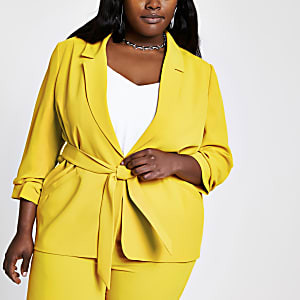 Plus yellow ruched sleeve belted blazer