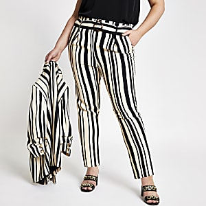 Plus black stripe tie waist tapered pants