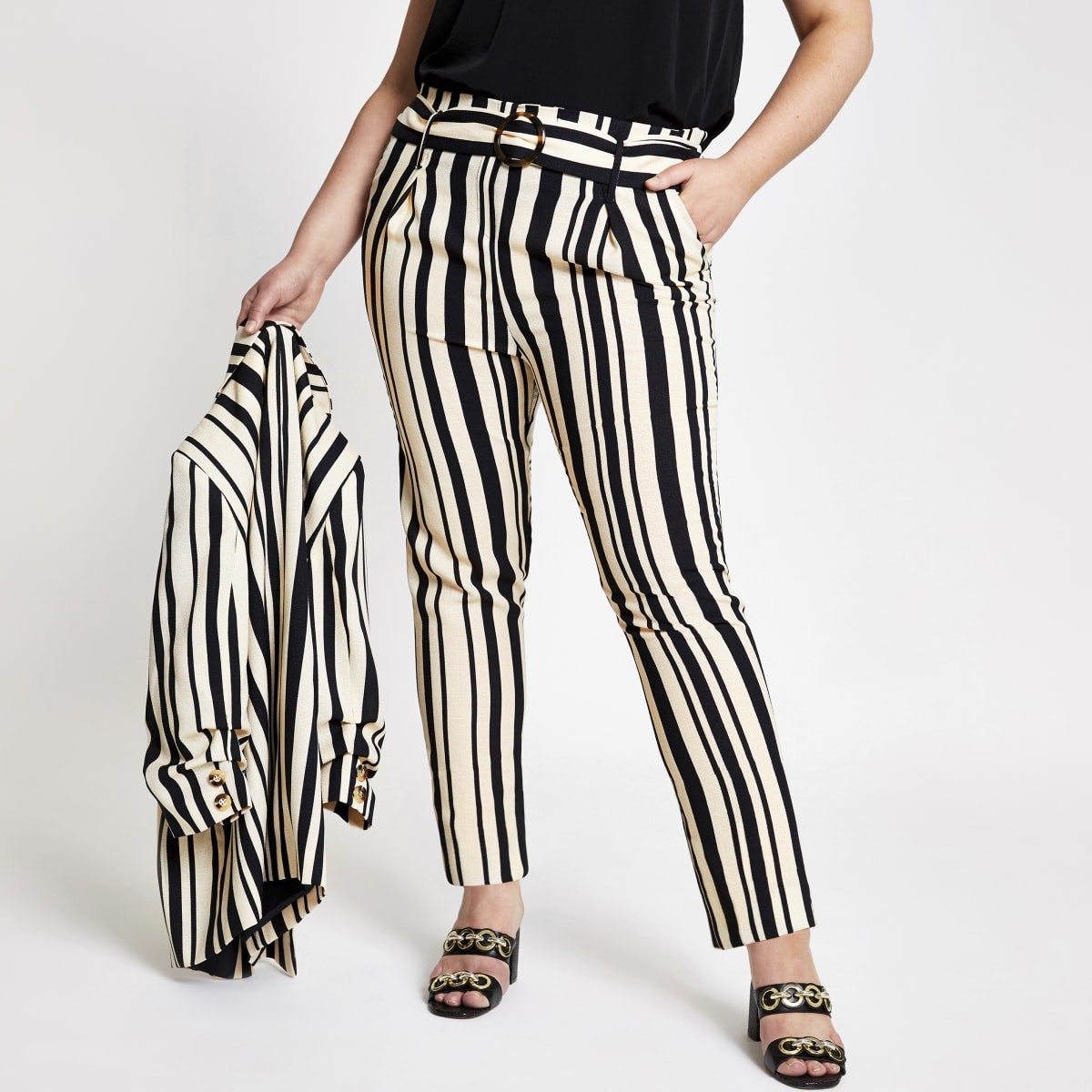 Plus black stripe tie waist tapered trousers