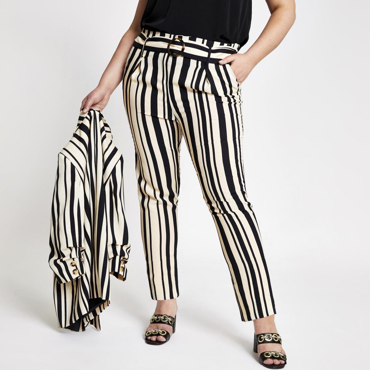 Plus – Pantalon fuselé rayé noir noué à la taille