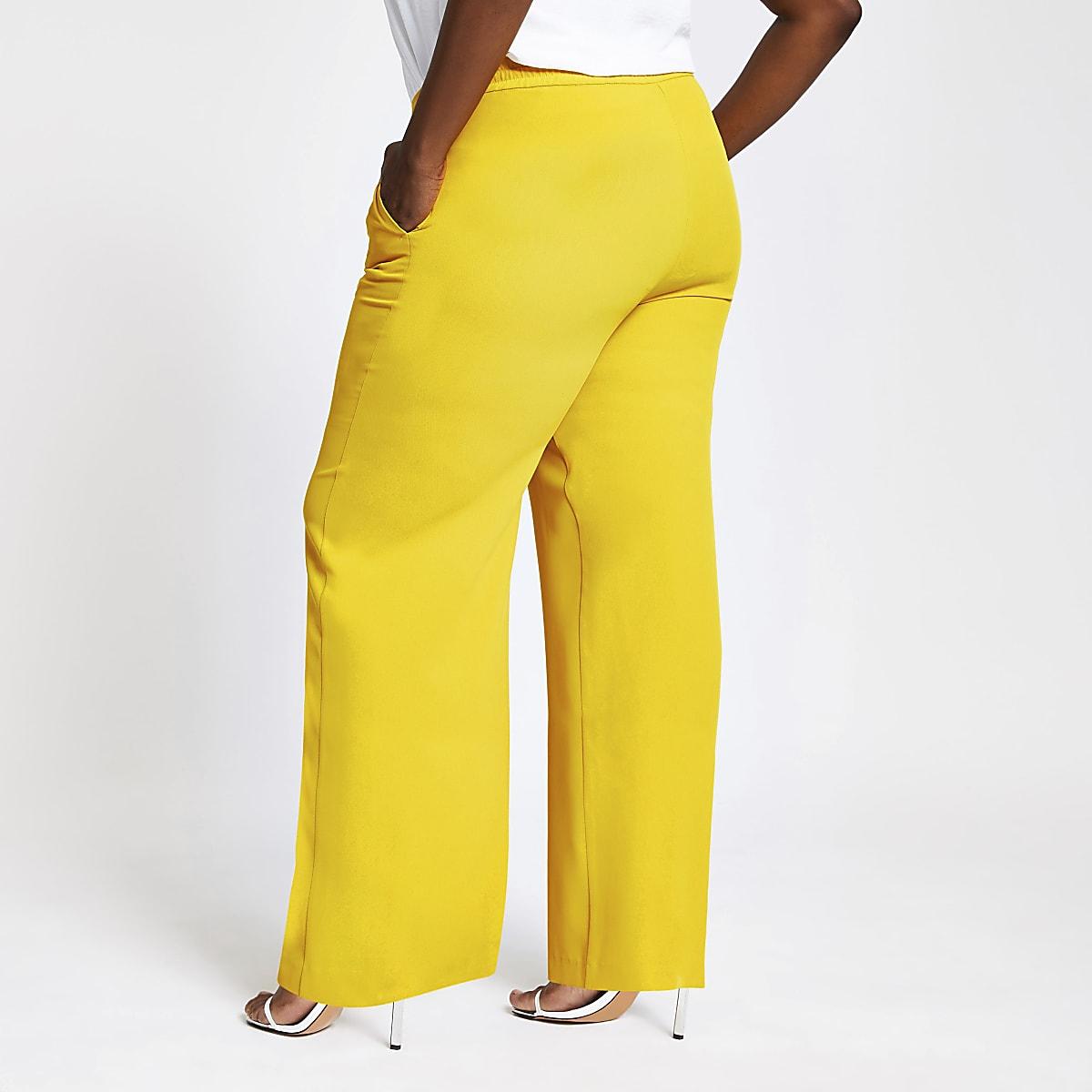 0f708dbb8afa Plus yellow wide leg pants - Wide Leg Pants - Pants - women