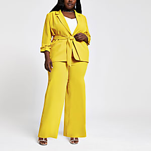 Plus yellow wide leg trousers
