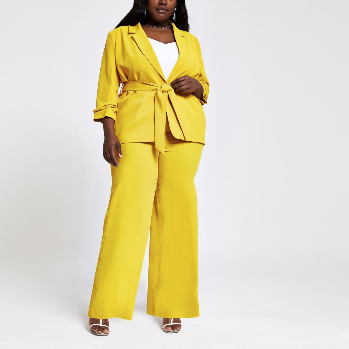 Plus yellow wide leg trousers