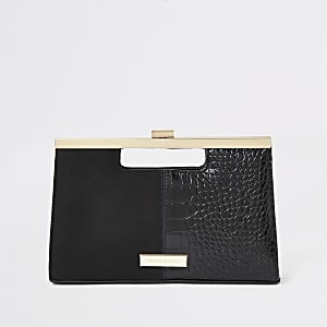 Black grab handle clutch bag