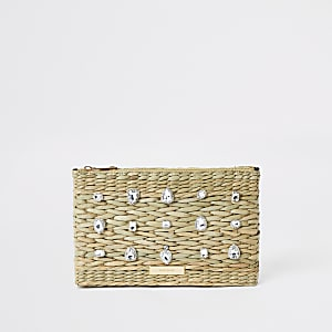 Beige weave gem embellished clutch bag