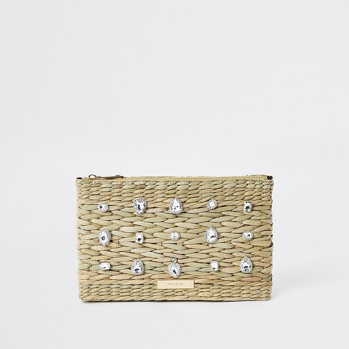 Beige weave gem embellished clutch bag