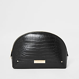 Black croc zip top makeup bag