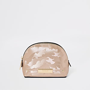 Rose gold camo make up bag