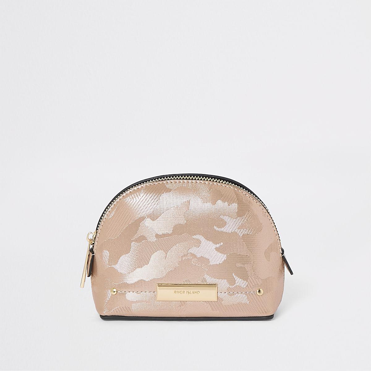Rose gold camo make up bag