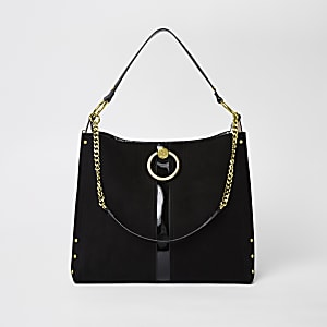 Black circle gold chain slouch bag