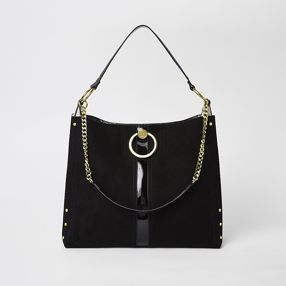 Black circle gold chain slouch bag