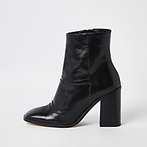 1d35833fce90 Black leather square toe ankle boots