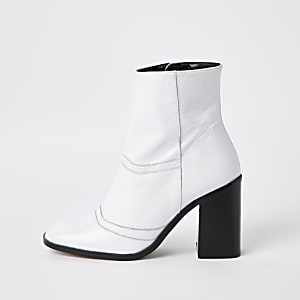 98ead9b0255 White leather square toe ankle boots