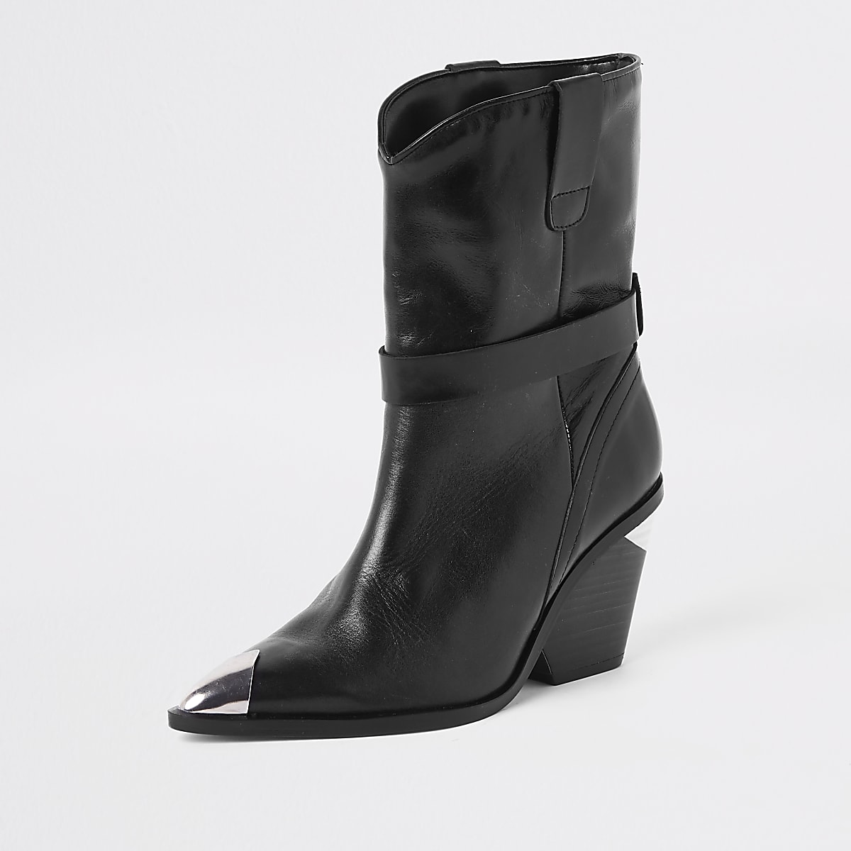 72094698a Black leather western ankle boots - Boots - Shoes & Boots - women