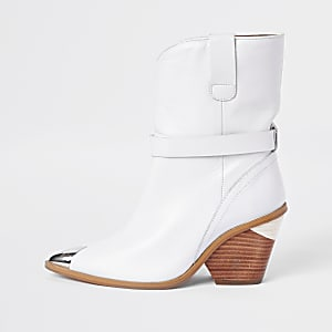 Bottines western en cuir blanches