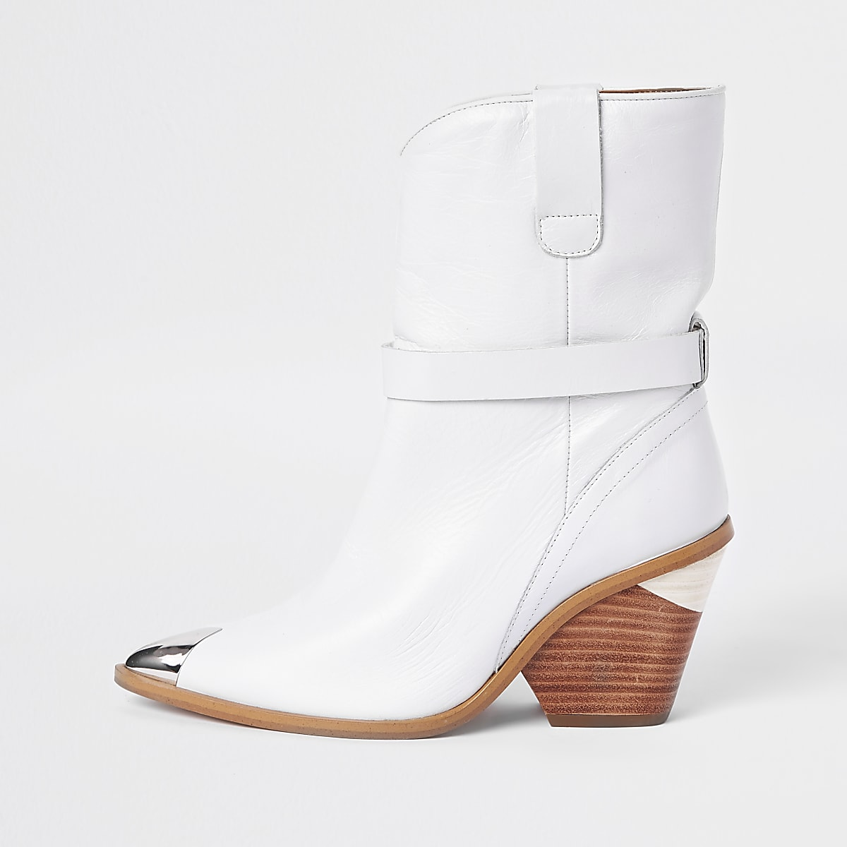 White leather western ankle boots