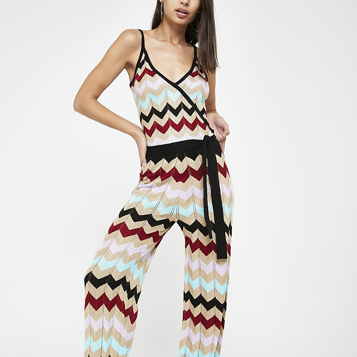 Gold multi chevron stripe knitted jumpsuit